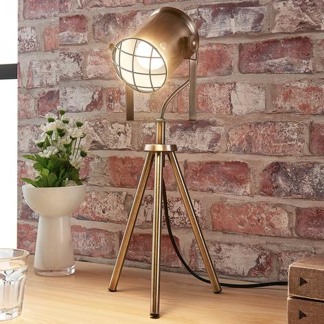 Lámpara de mesa Ebbi estilo industrial, latón
