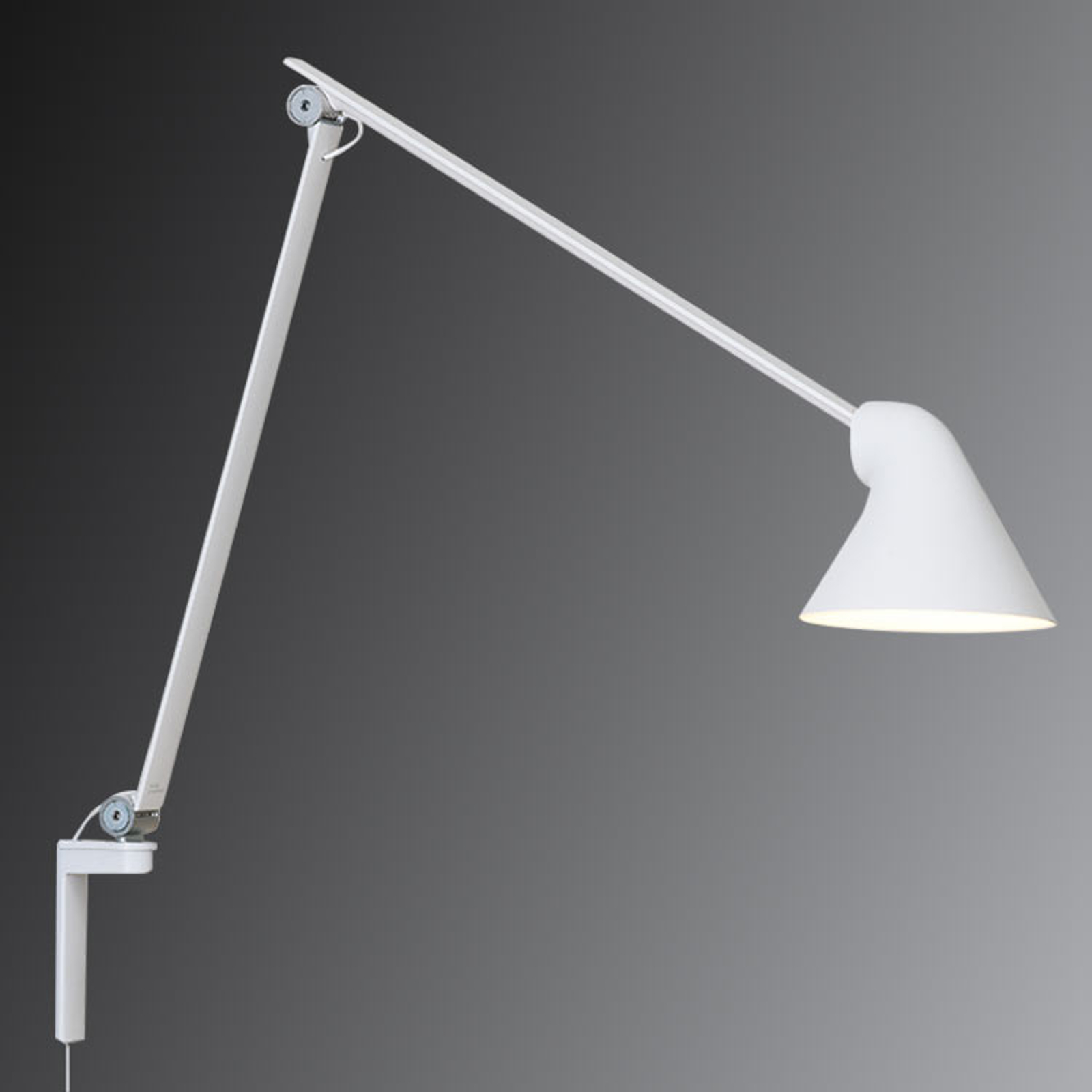 Louis Poulsen NJP LED wandlamp, lange arm, wit