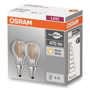 E14 4W 827 Led-druppellamp 2-delige set