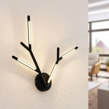 Lucande Cuerno applique LED in nero-bianco