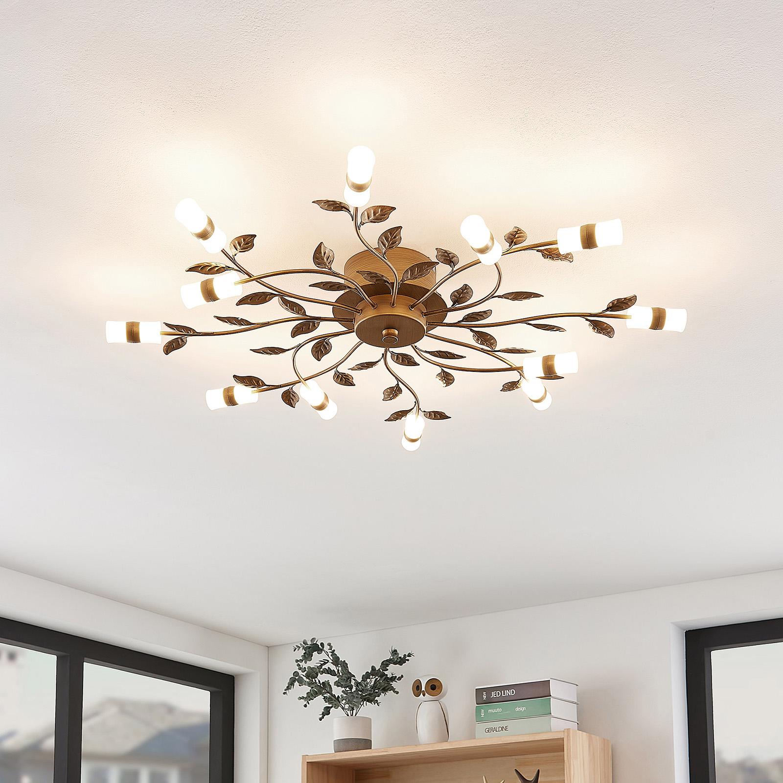 Lindby Bentas lampa sufitowa LED z metalu, brązowa