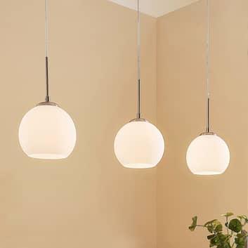 Tříbodová skleněná závěsná lampa Sofian