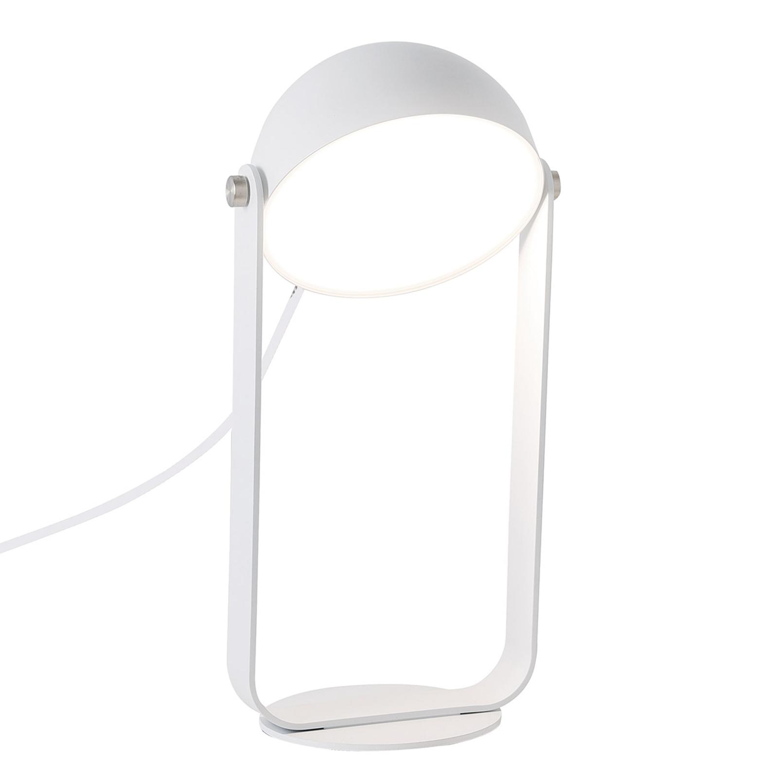 Lampa stołowa LED Hemi z wychylnym kloszem biała