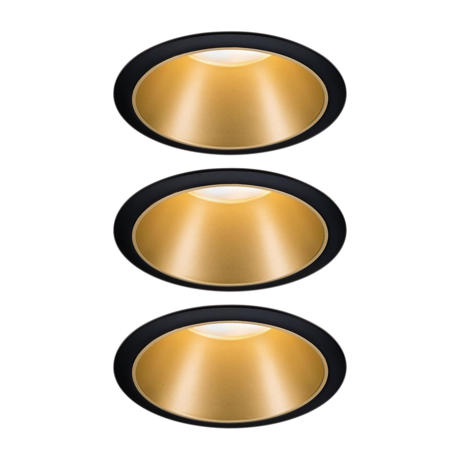 Paulmann Cole LED-spot, guld-sort, sæt med 3