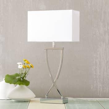 Flot tekstil-bordlampe Anni, krom/hvid