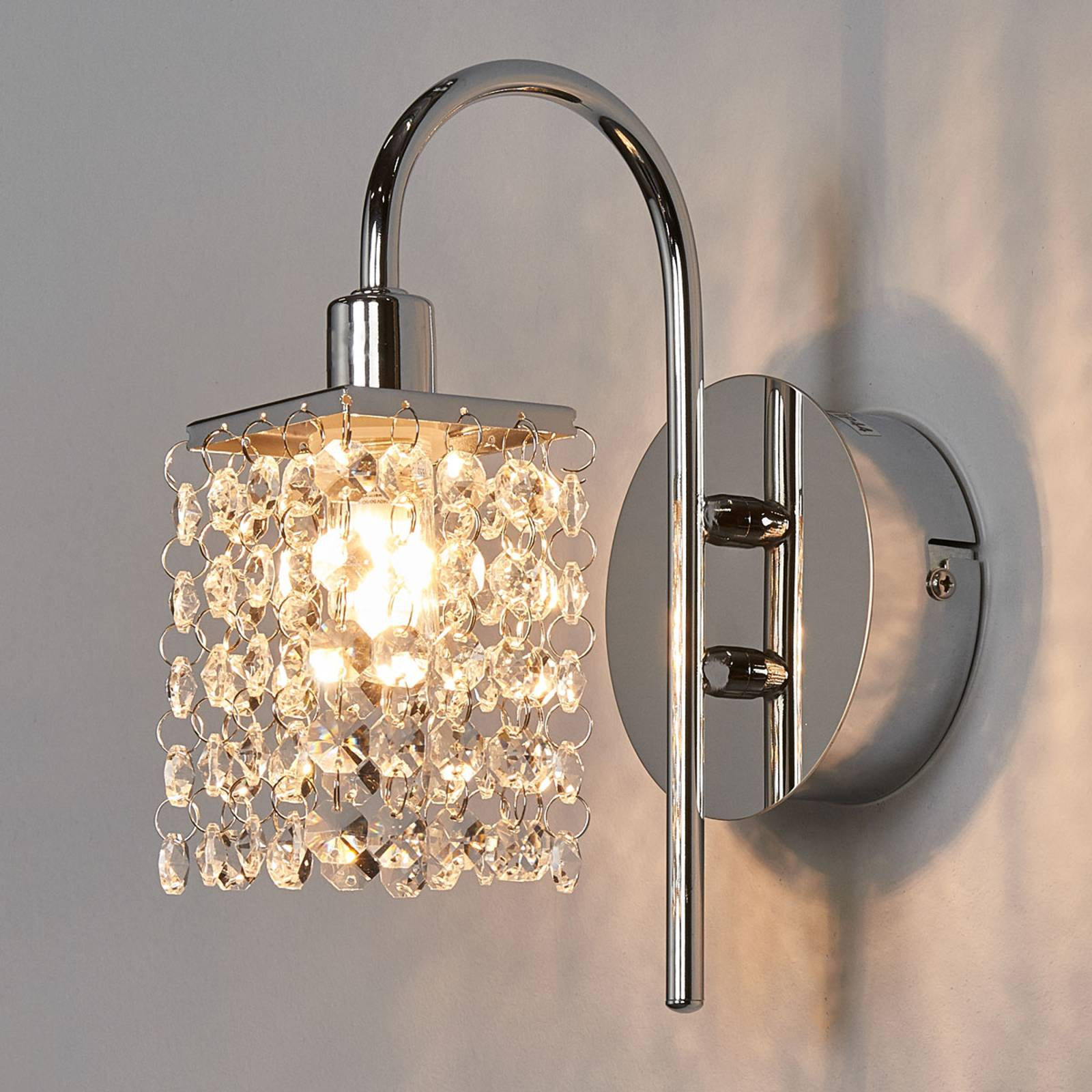Mooie LED wandlamp Almonte m. glasgordijn IP 44