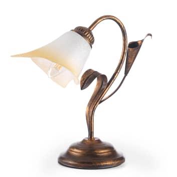 Lampa stołowa Lucrezia brązowa z kwiatowym kloszem