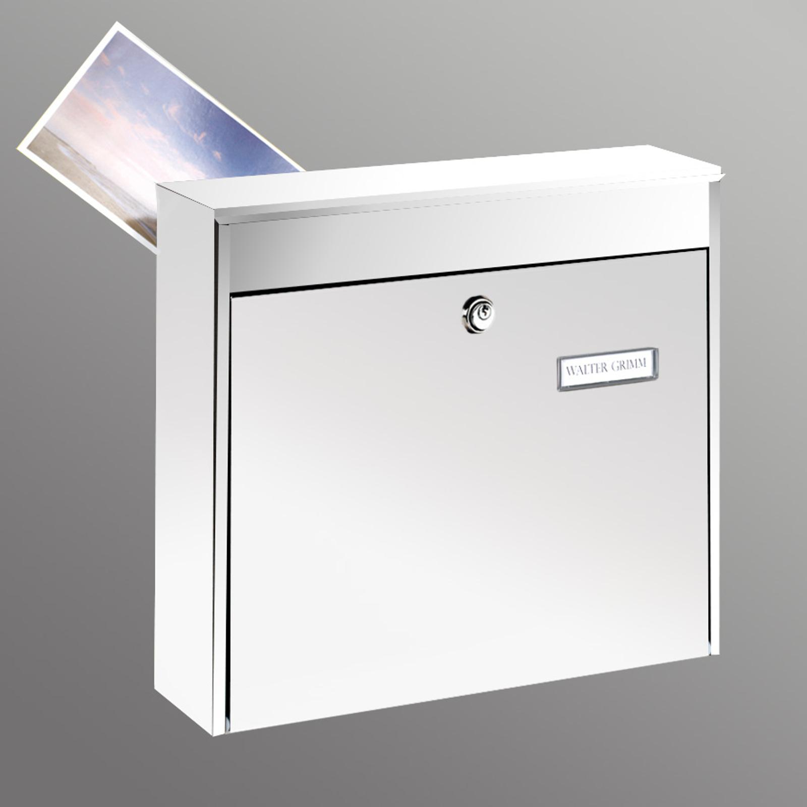Romslig, hvit POTSDAM 878 postkasse til gjerde