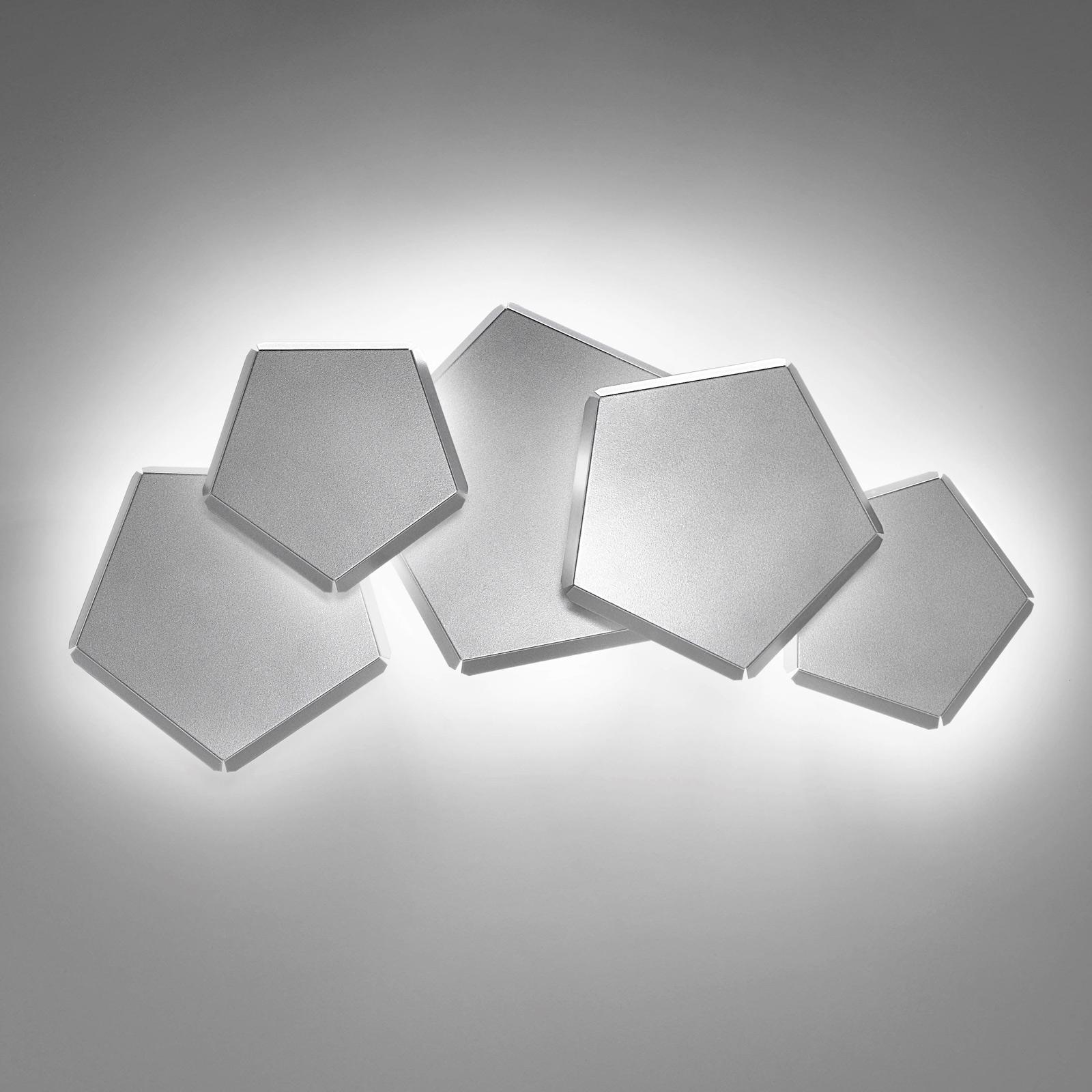 LED wandlamp Pleiadi in zilver, 5-lamps