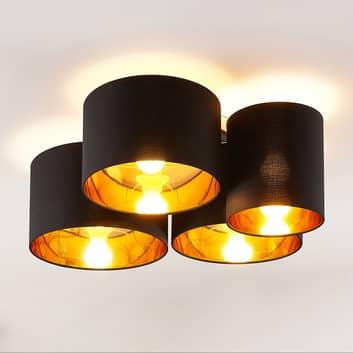 Lindby Laurenz taklampe, 4 lyskilder, svart-gull