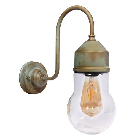Wandlampe 1950N messing antik, Glas gewölbt