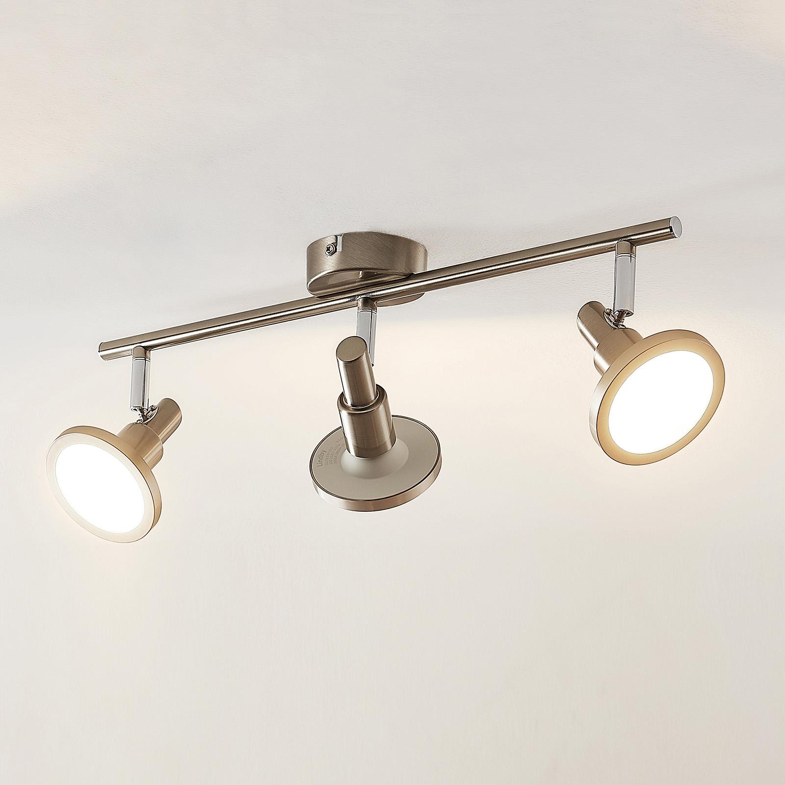 Lindby Unnur LED-spotlight, 3 lyskilder og avlang