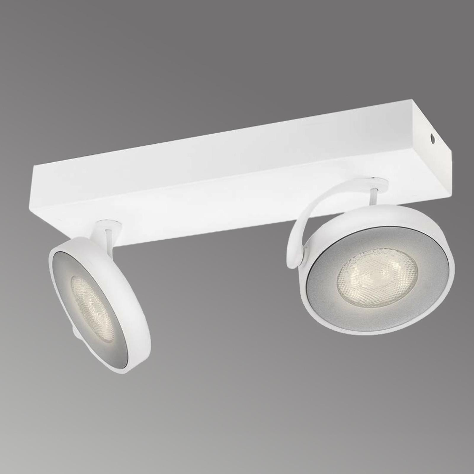 LED-spot Clockwork i hvid med to lyskilder