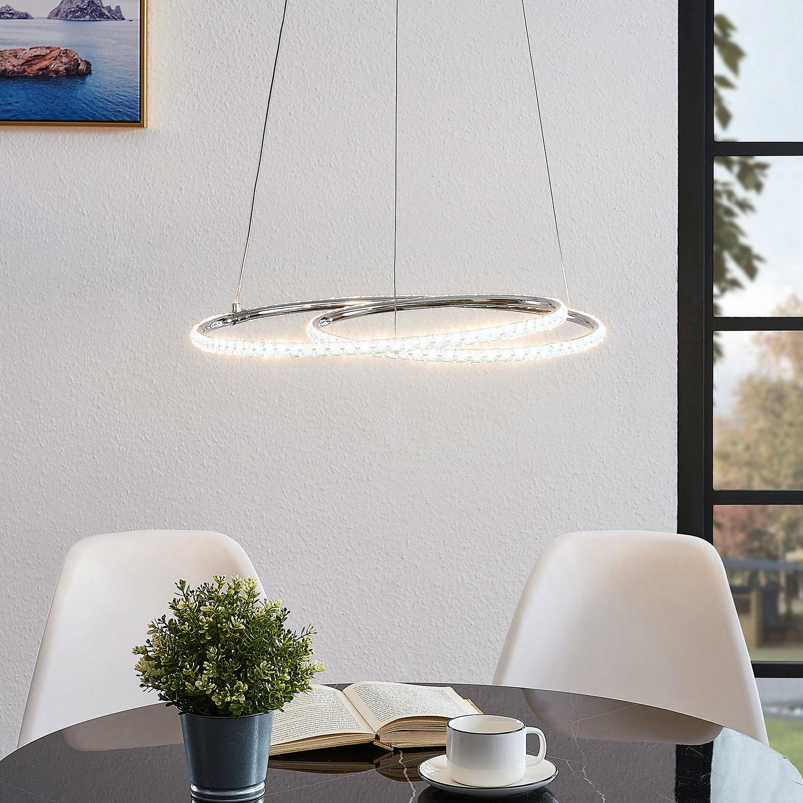Lindby Lucy LED-hengelampe, 45 cm, krystall