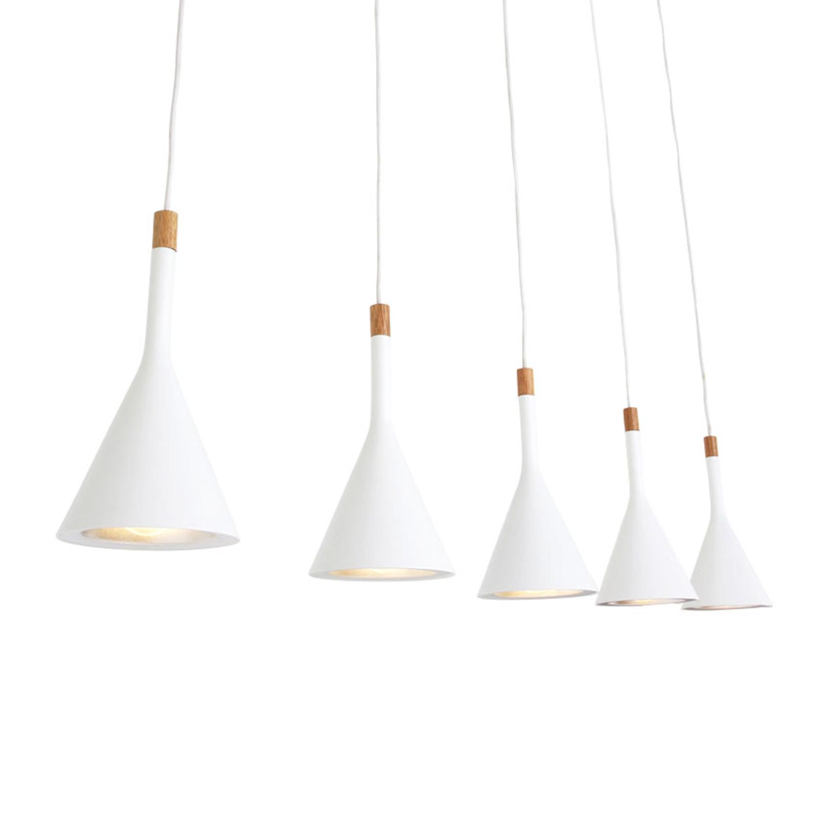 Lampa wisząca Cornucopia, biała, 5-punktowa