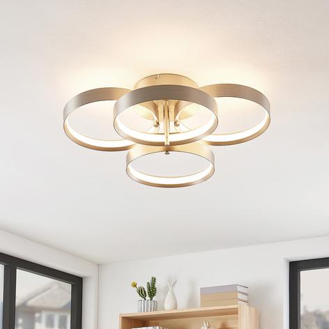 Lucande Naylia -LED-kattovalo, nikkeliä, himmennys