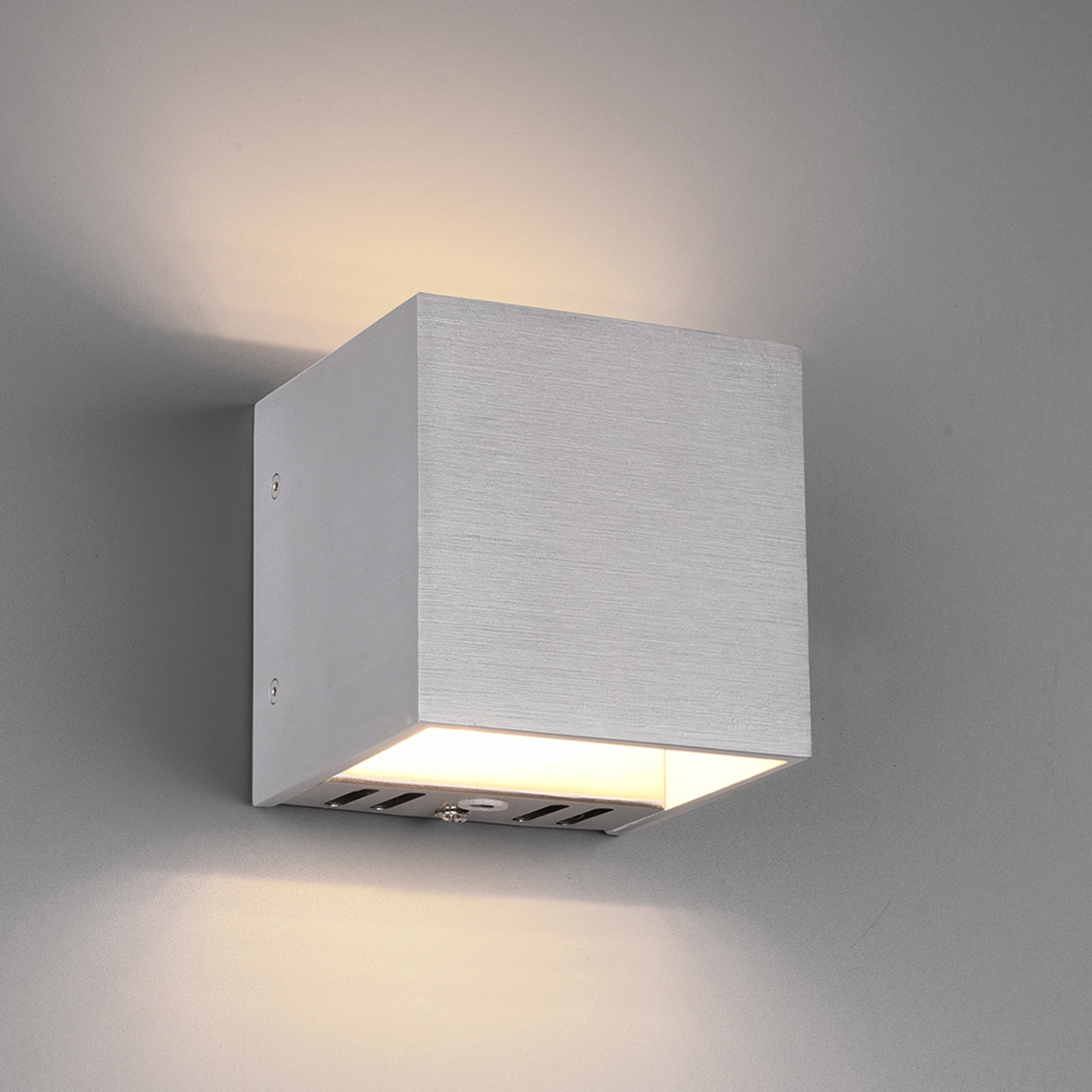 Trio WiZ Figo LED wandlamp, aluminium geborsteld