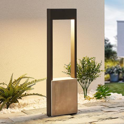 Lucande Tekiro borne lumineuse LED, béton, 60cm