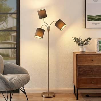 Lindby Manu golvlampa, textil, 3 lampor, grå