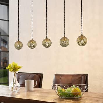 Lucande Zale hanglamp, hoekig, 5-lamps