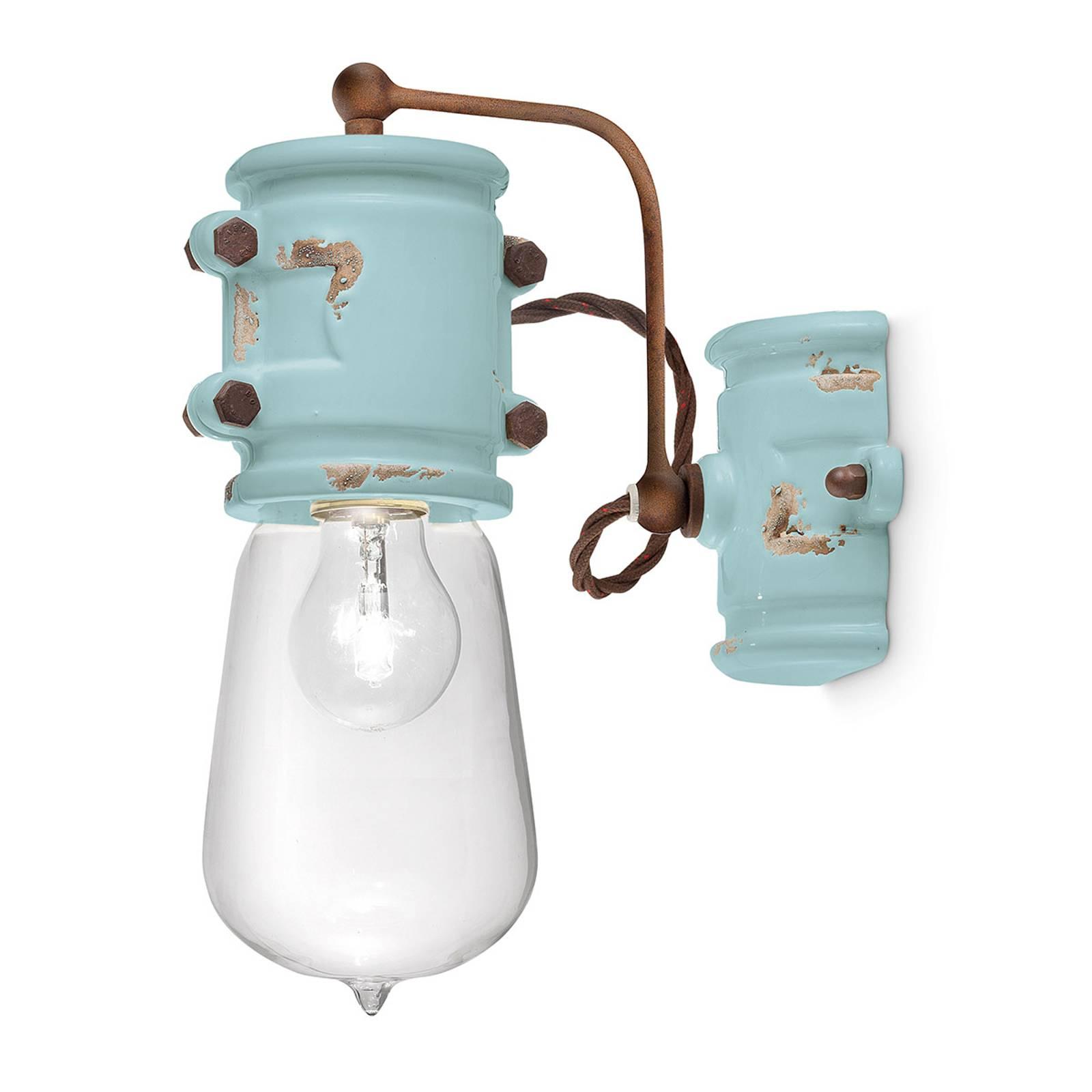 Vintage wandlamp C1523 turquoise