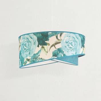 Lámpara colgante Royal, patrón de rosas, turquesa