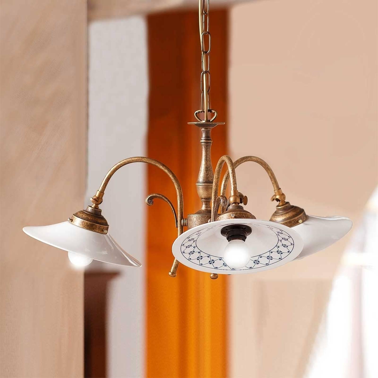 Hanglamp ORLO, 3-lichts, landelijke stijl