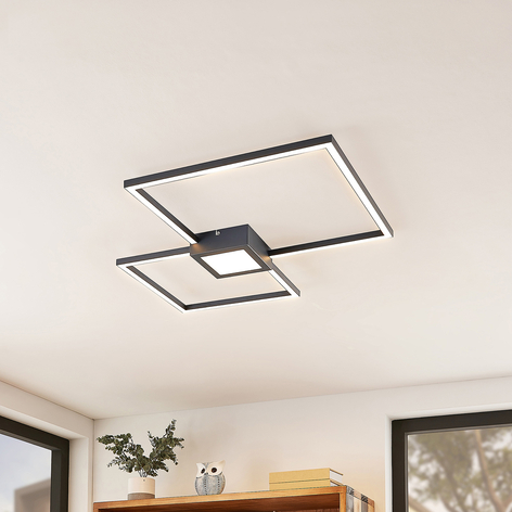 Lindby Duetto LED plafondlamp antraciet 28W