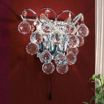 Lámpara de pared de cristal Auguste, cromo