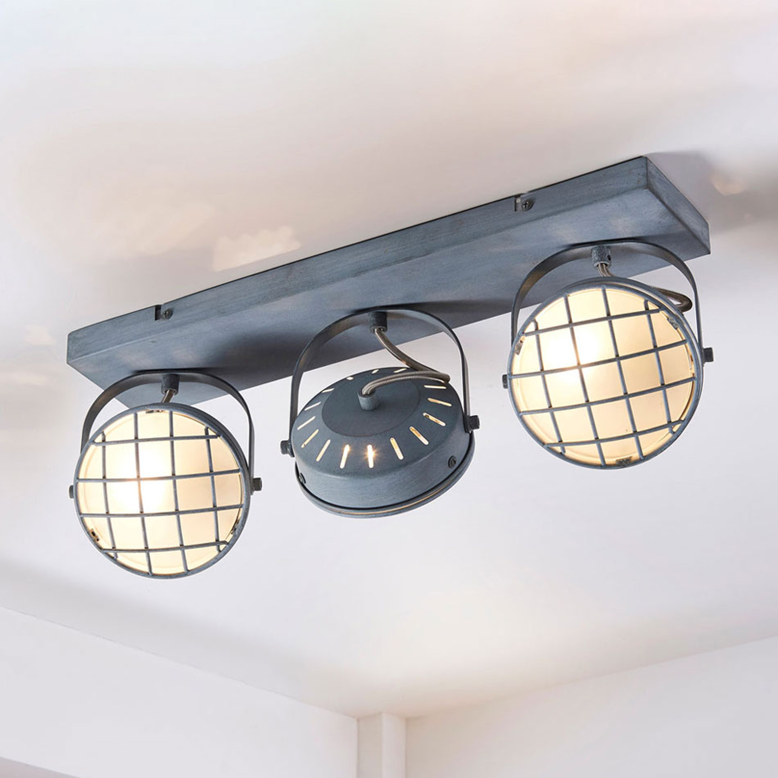 Plafonnier LED Tamin gris, style industriel