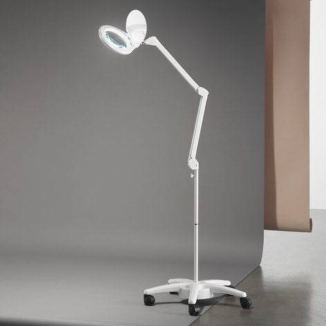 Soporte con ruedas para lámpara con lupa LED Close