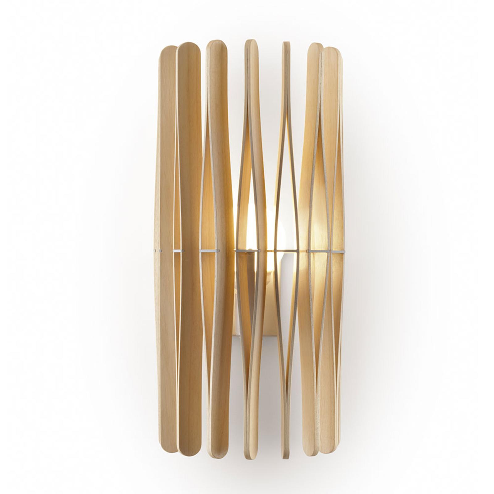 Fabbian Stick Holz-Wandleuchte, zylindrisch