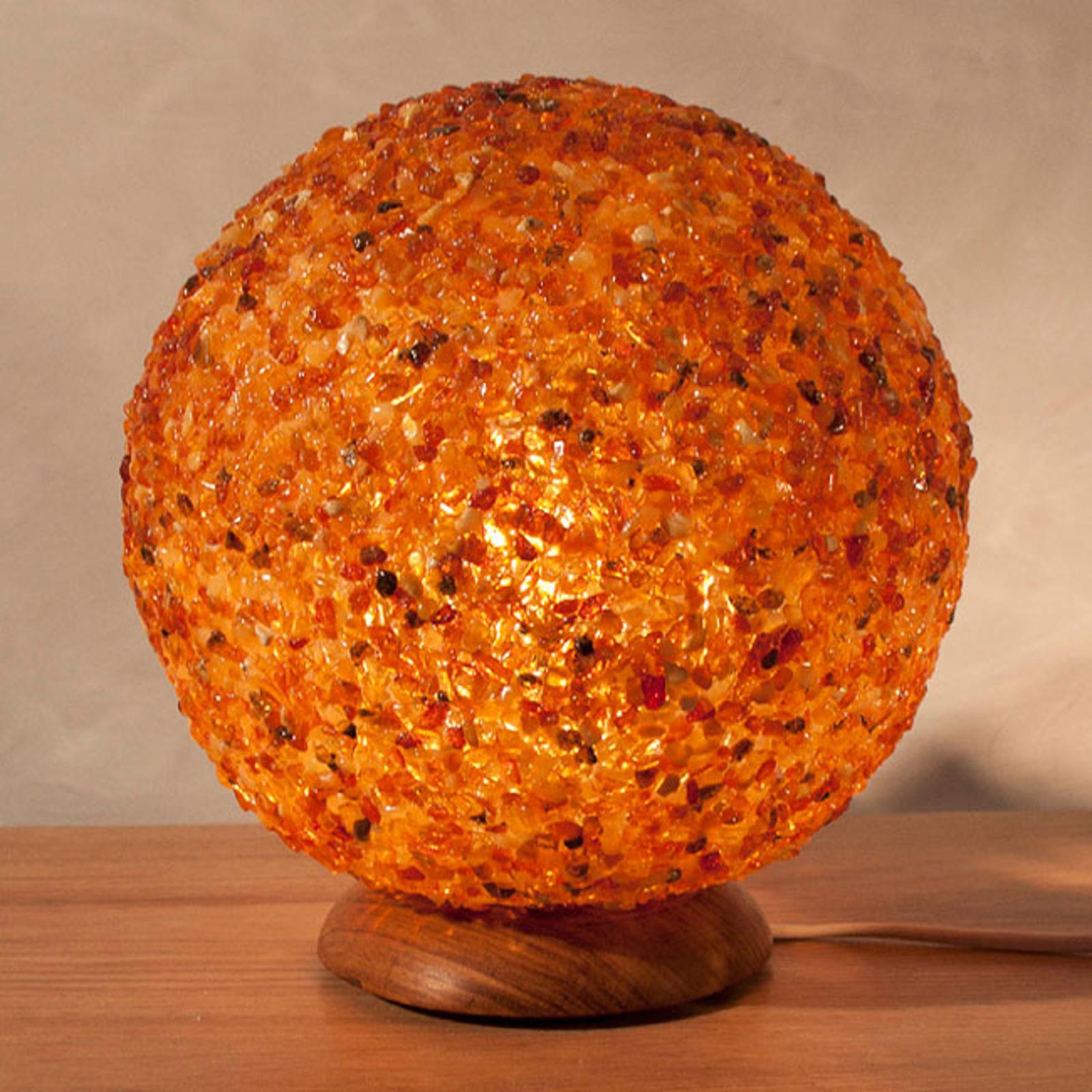 Ekstrawagancka bursztynowa kulista lampa stołowa