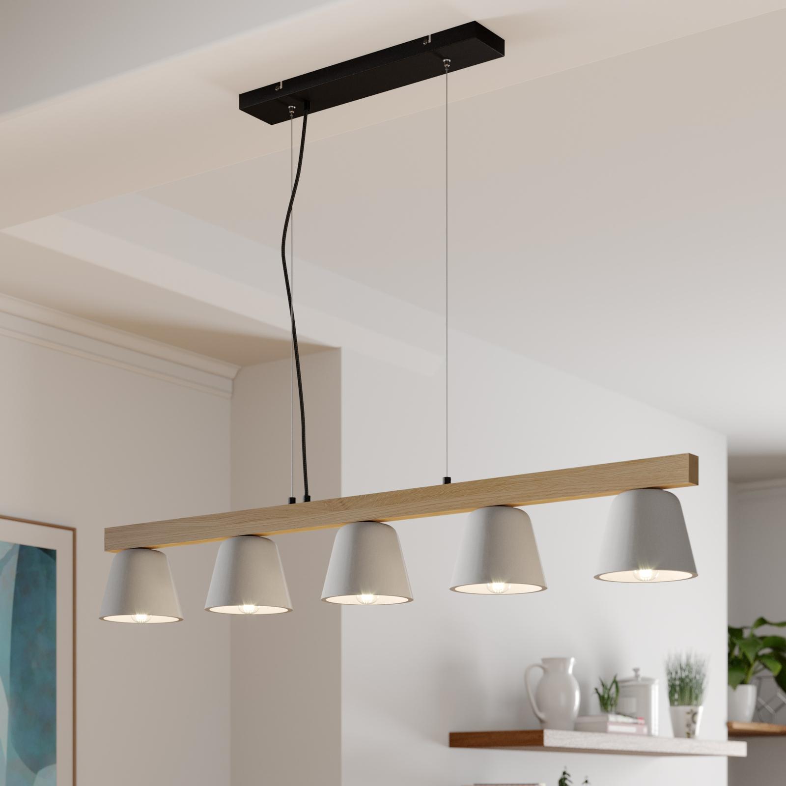 Lucande Kalinda hänglampa, betong, trä, 5 lampor