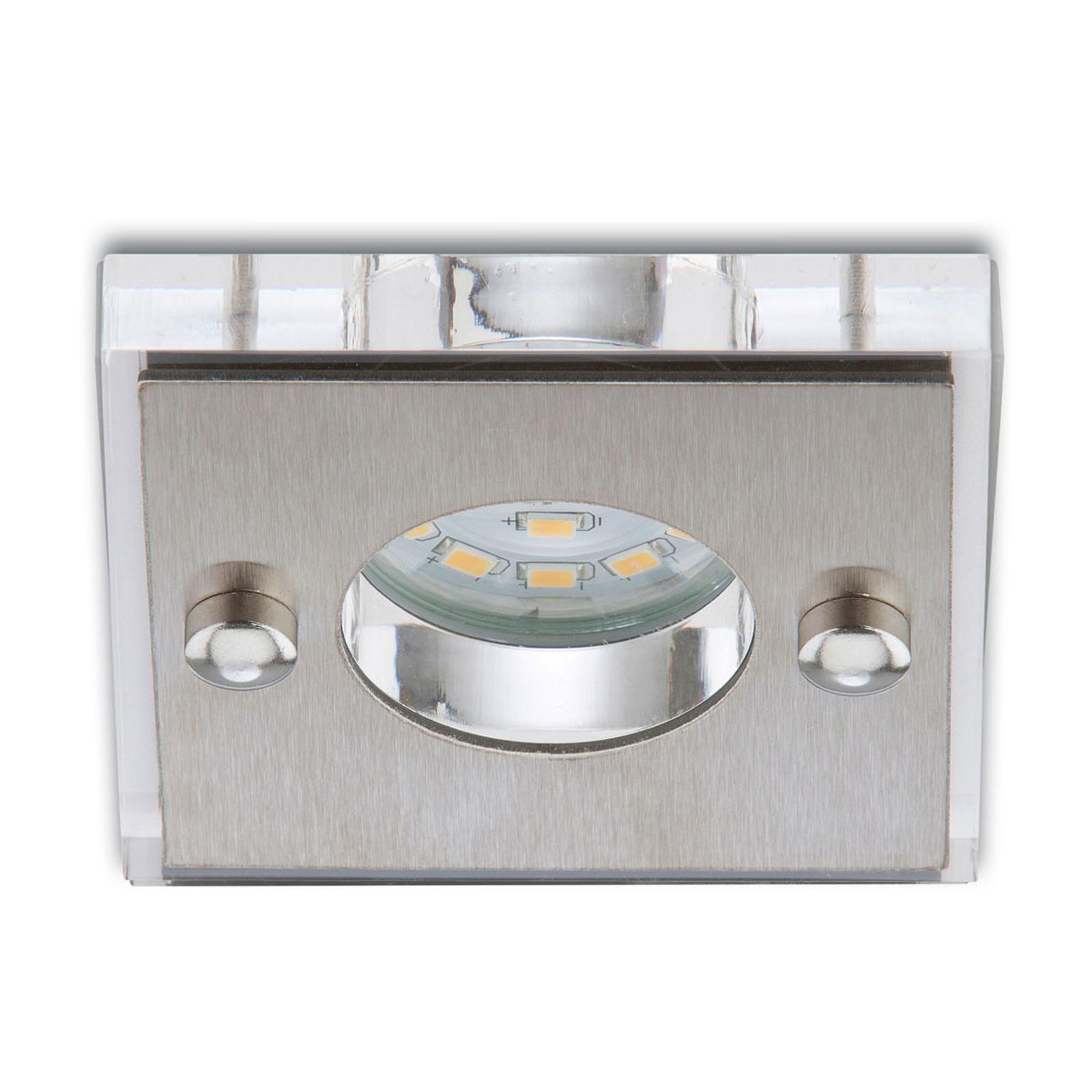 Neliskulmainen Luca LED-uppokohdevalaisin IP44 alu