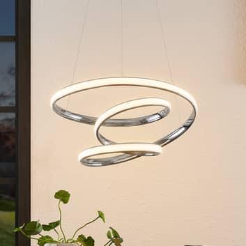 Lucande Sakina LED-Hängeleuchte chrom Ø 48 cm