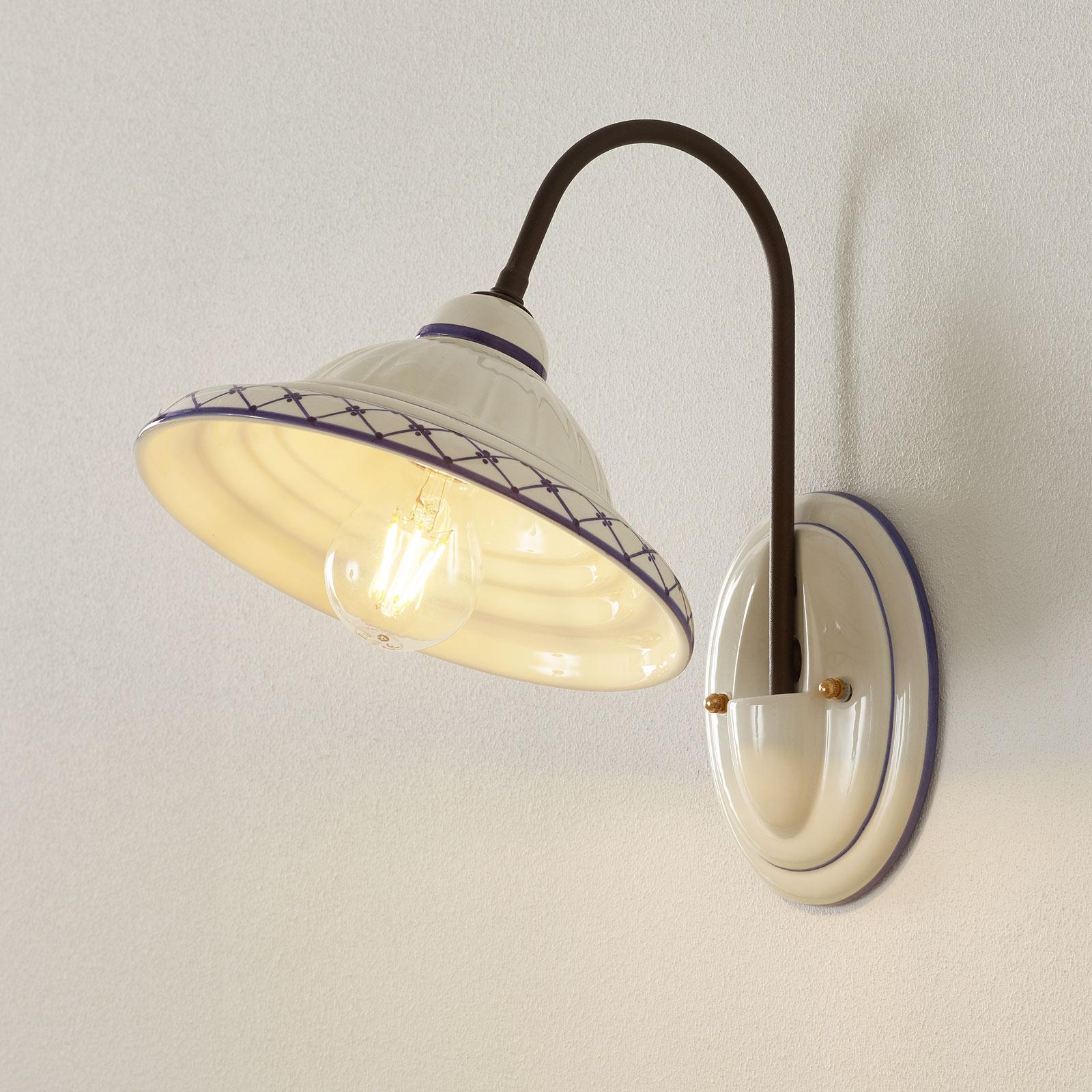 Keramieken wandlamp Firenze met bruingemaakte arm