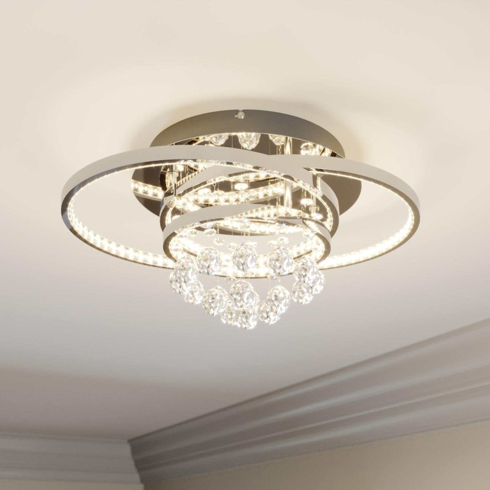 Lucande Keely LED-taklampe, krystall, 44,5 cm