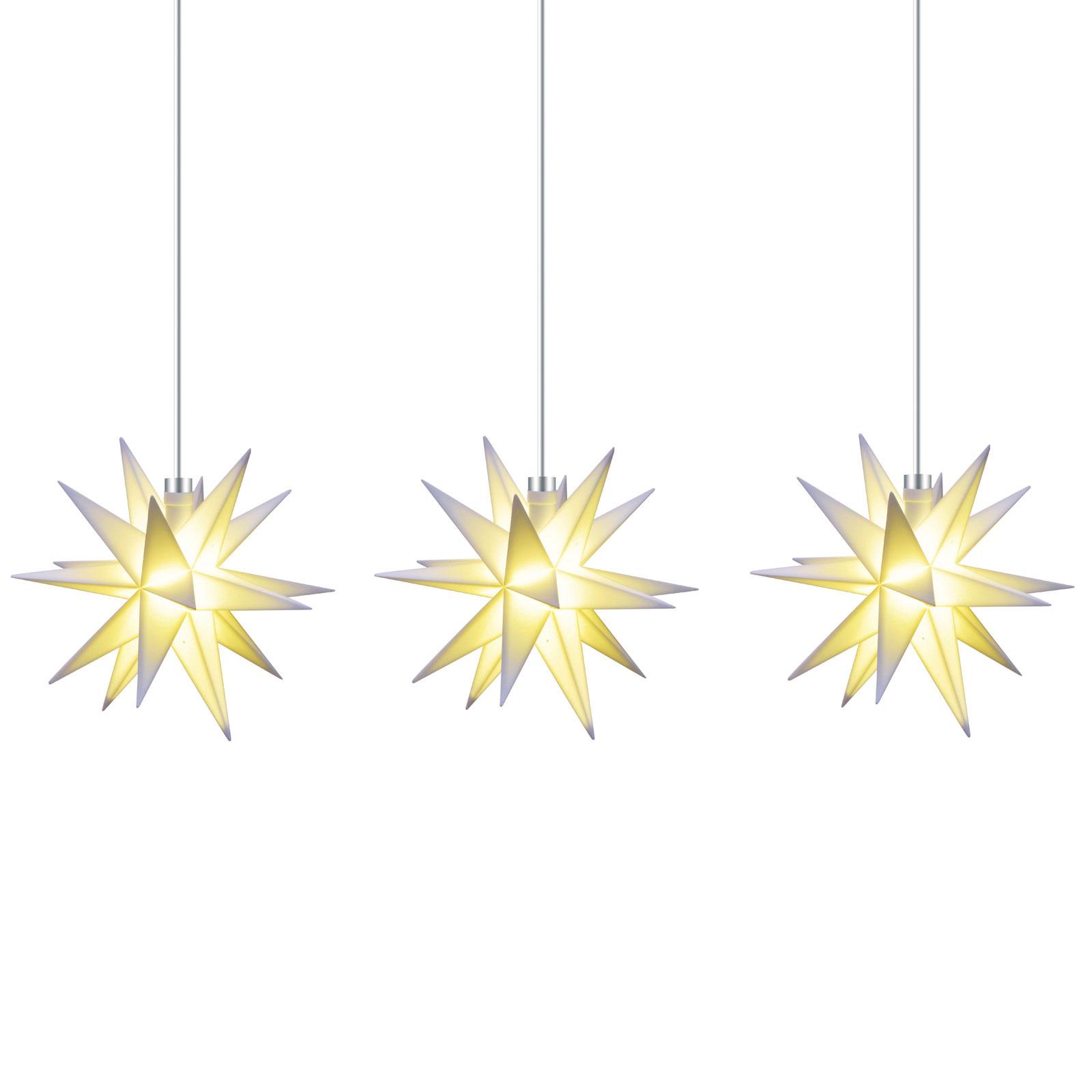 Ljusslinga stjärna inne, 18 uddig, 3 lampor, vit