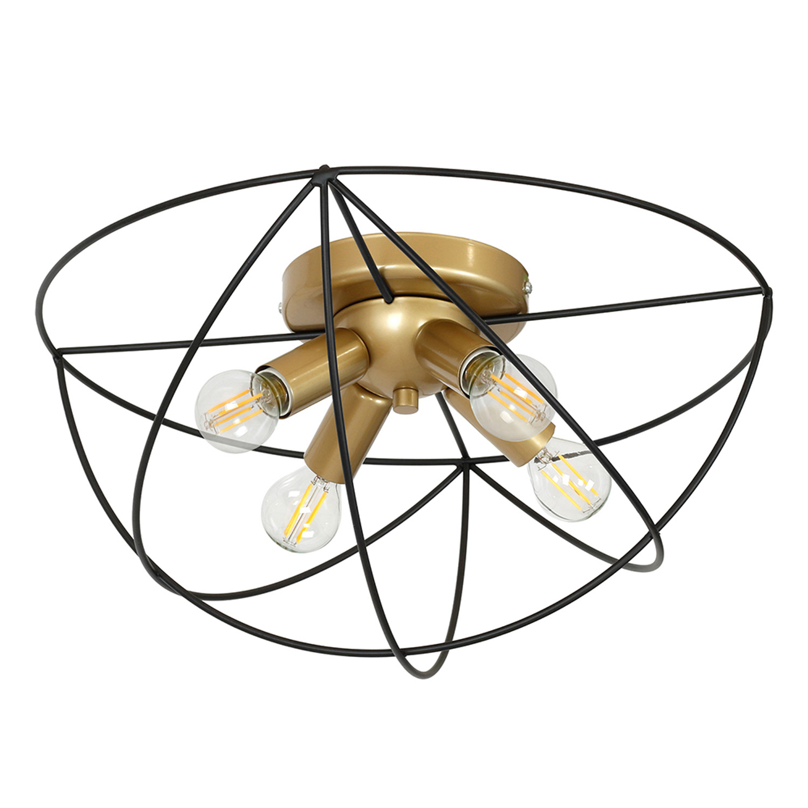 Copernicus taklampe, 4 lyskilder gull/svart