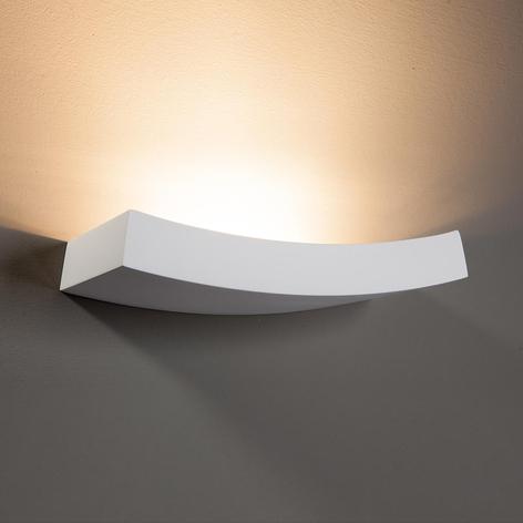 Iets gebogen wandlamp Leander, beschilderbaar
