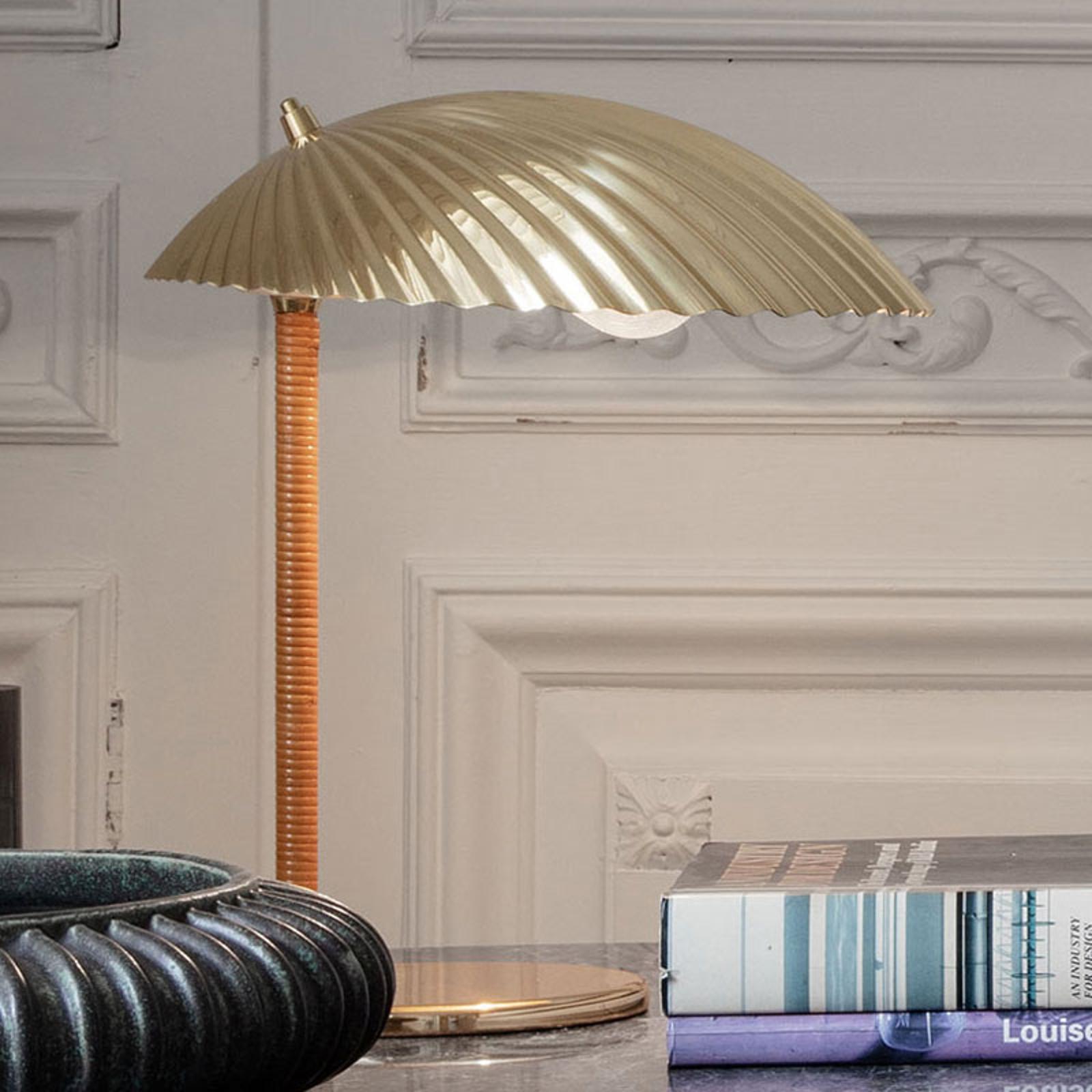 GUBI 5321 lampa stołowa z drążkiem ratanowym
