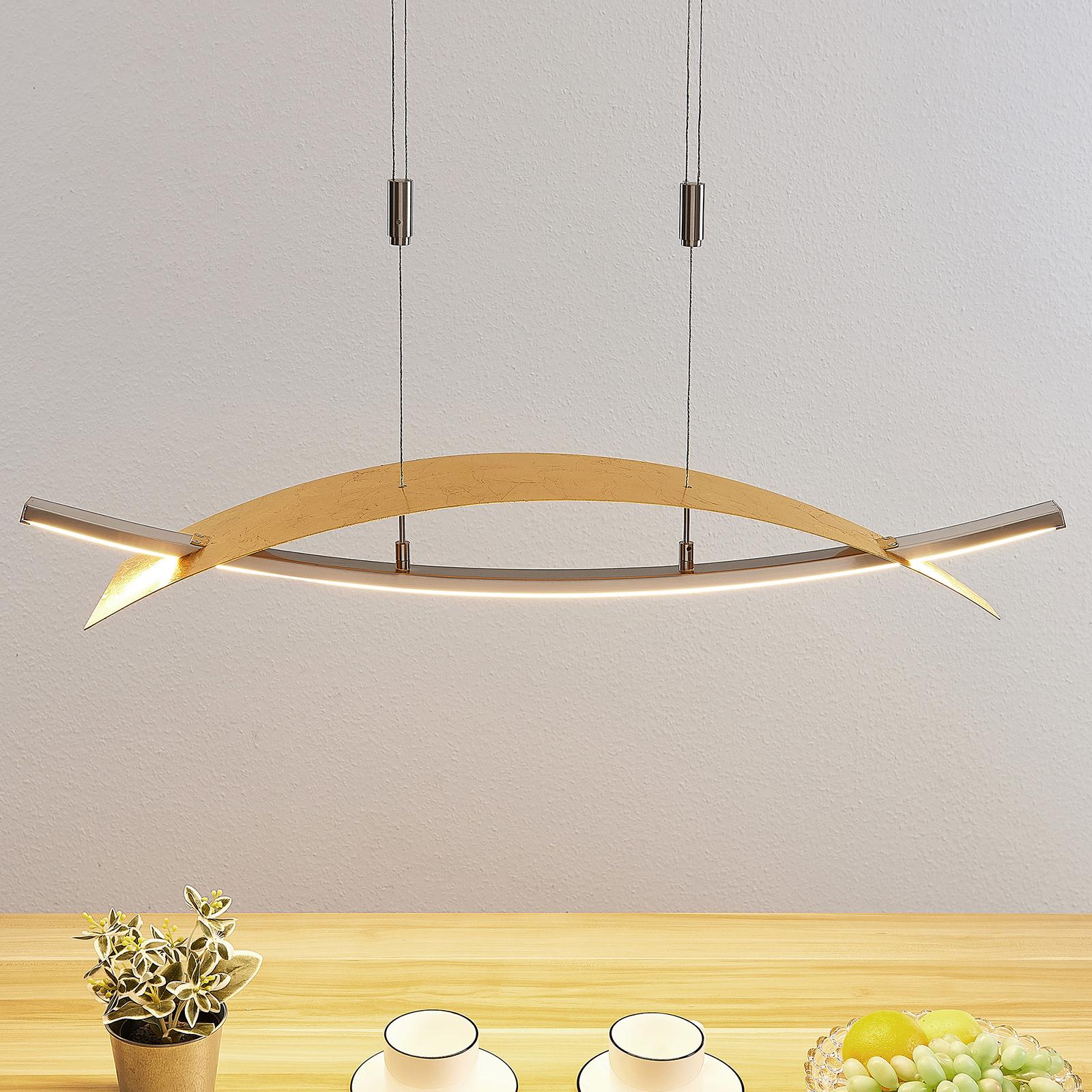 Suspension LED Marija, cache horizontal, doré