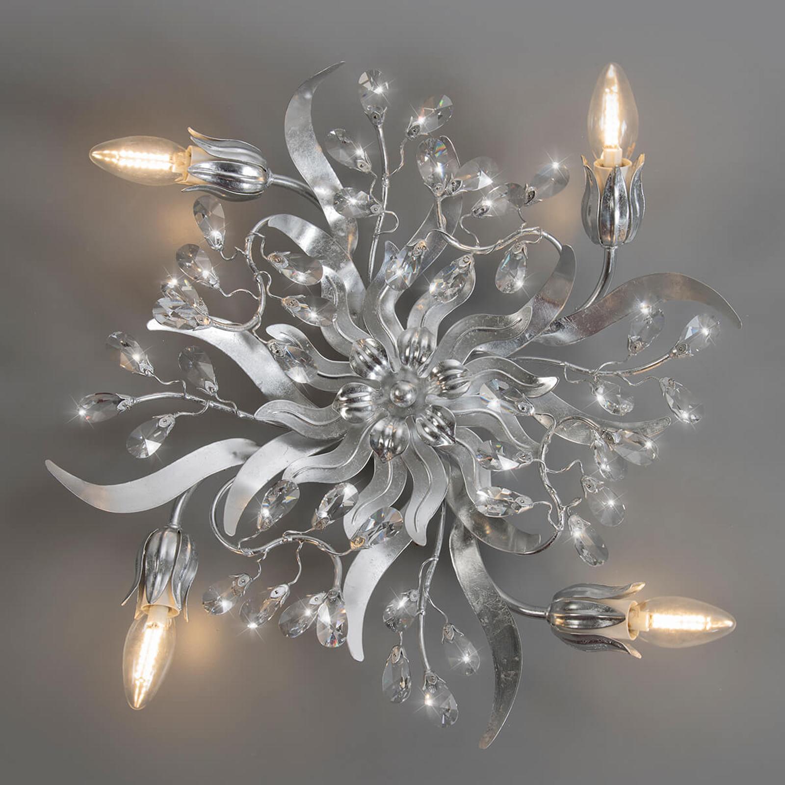 Srebrna lampa sufitowa Sara, 4-punktowa