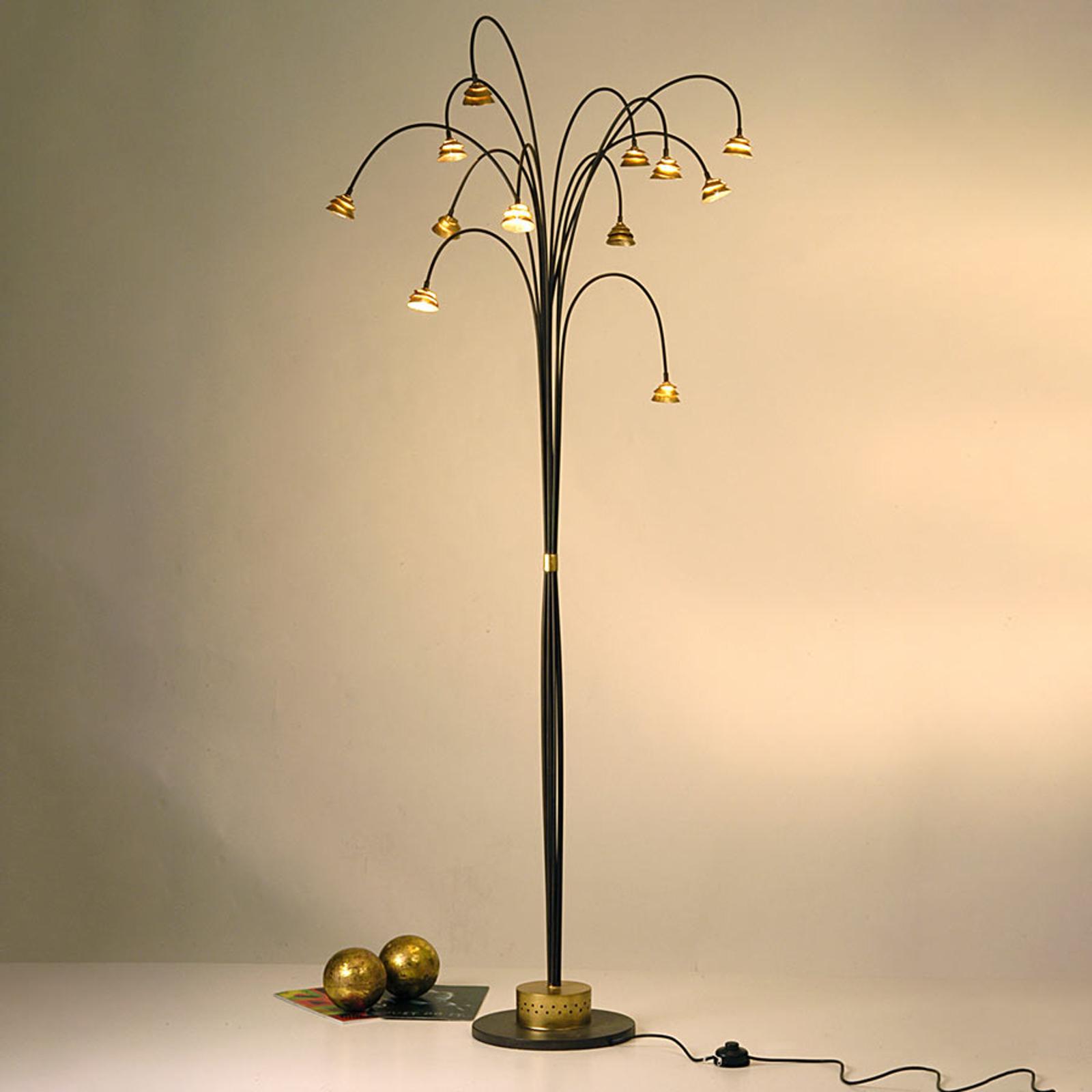Ciekawa lampa stojąca LED Fontaine brązowo-złota
