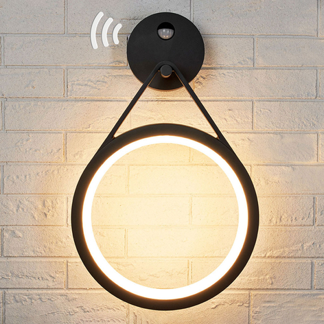 LED-utomhusvägglampa Mirco med sensor, ringformad