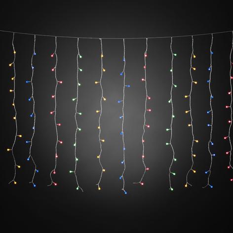 Cortina de luces LED con globos de colores