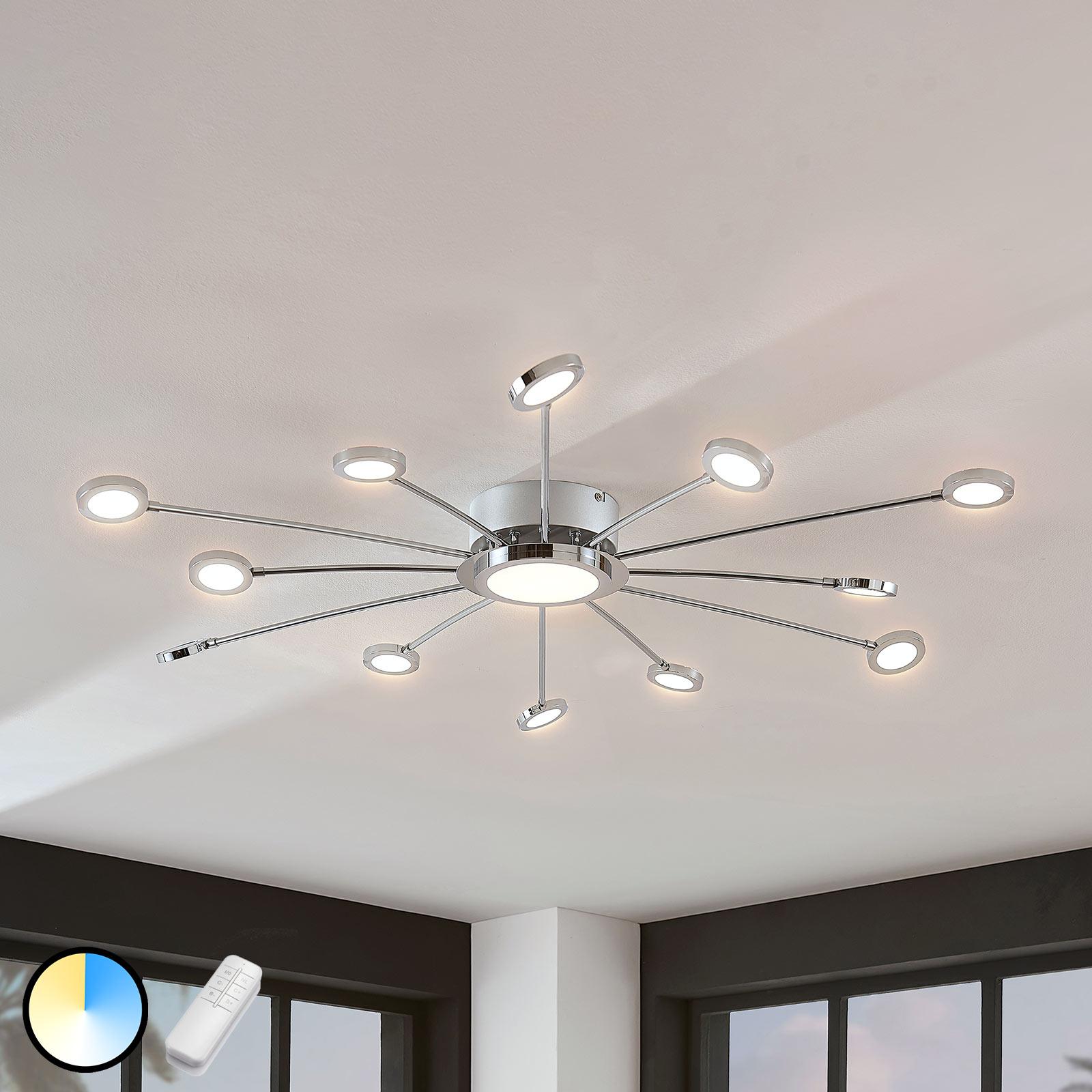 Stora, ljusa LED-taklampa Meru m. fjärrkontroll