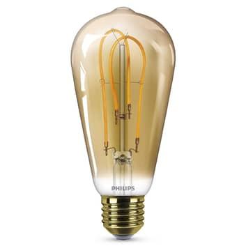 Philips E27 ST64 LED-pære Curved 4W 2500 K gull