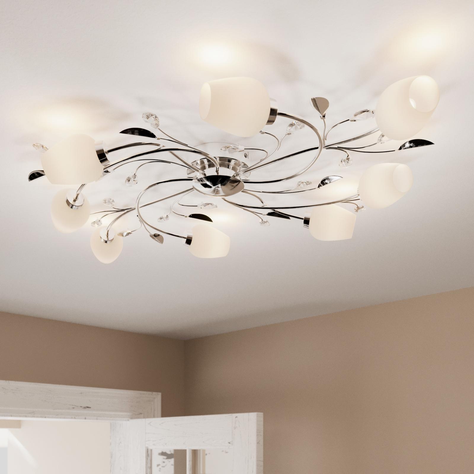 Krom loftlampe Freda med 8 lyskilder